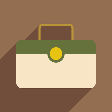 valise: Flat with shadow icon and mobile application valise