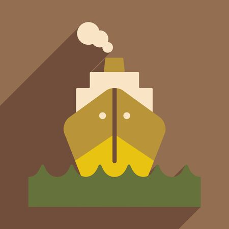 Flat with shadow icon and mobile application boat