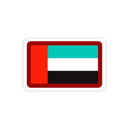 neutrality: stylish paper sticker on white background emirates flag