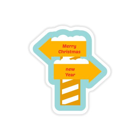 frigid: paper sticker on white background Christmas New Year signpost Illustration