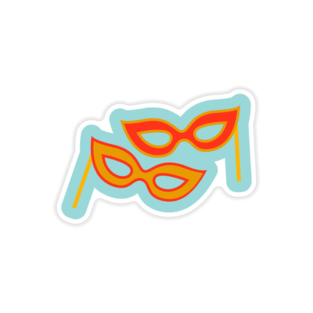 paper mask: paper sticker on white background Christmas mask