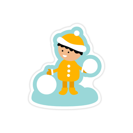 palle di neve: paper sticker on white background boy playing snowballs Vettoriali