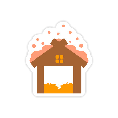 barn wood: paper sticker on white background barn in snow