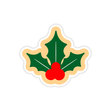 sprig: paper sticker on white background sprig mistletoe