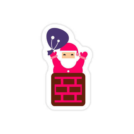 paper sticker on white background Santa in chimney