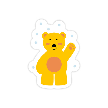 paper sticker on white background northern bear Illustration