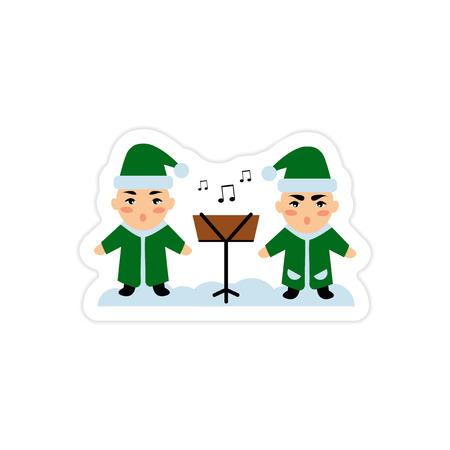 carols: paper sticker on white background children sing carols