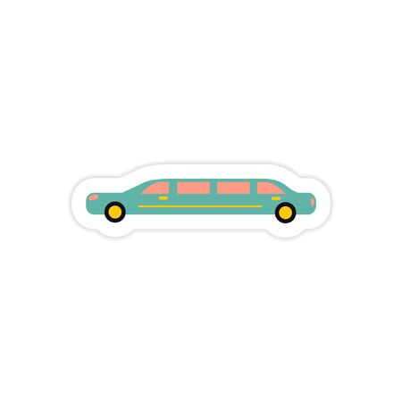 limousine: paper sticker on white background wedding limousine Illustration