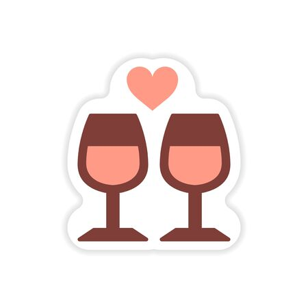 paper sticker on white background glasses heart Illustration