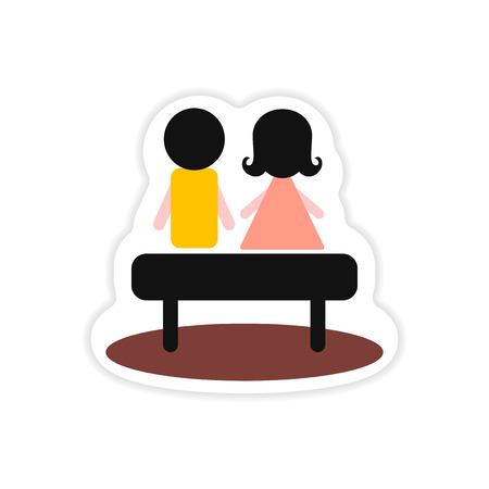 paper sticker on white background boy girl bench
