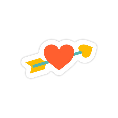 card suits symbol: paper sticker on white background arrow heart