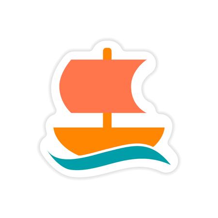 trireme: paper sticker on white background Greek ship