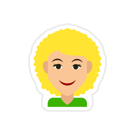 paper sticker on white background womens hairstyles