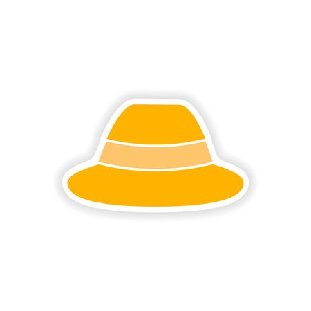 charlie: stylish paper sticker on white background hat