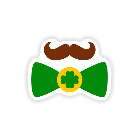 sir: stylish paper sticker on white background mustache butterfly tie