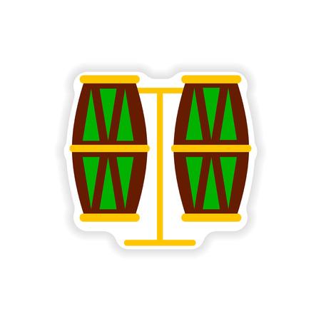 bongos: stylish paper sticker on white background Brazilian drums