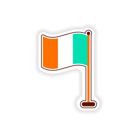stylish paper sticker on white background flag Ireland