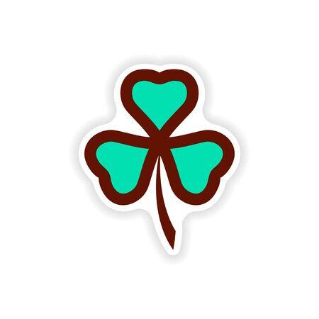 fourleaf: stylish paper sticker on white background clover