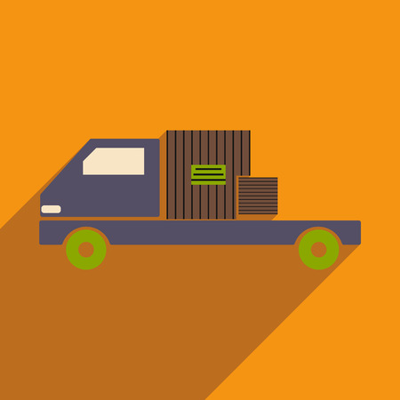 Flat with shadow icon and mobile application car cargo logistics Illustration