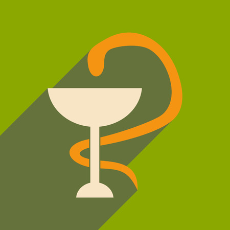 aesculapius: Flat with shadow icon and mobile application snake Illustration