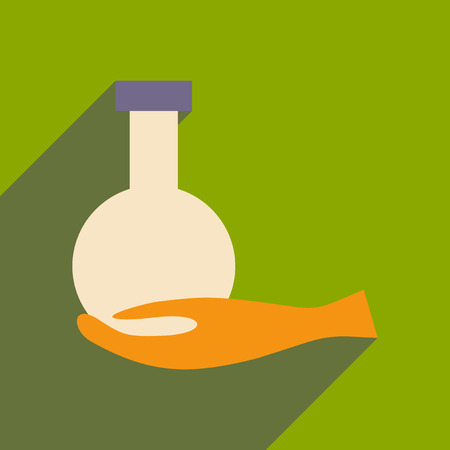 Flat with shadow icon and mobile application chemicals Illustration