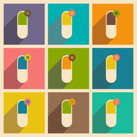 pharmaceutical: Flat with shadow concept and mobile application pharmaceutical industry Illustration