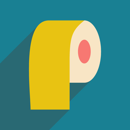 fecal: Flat with shadow icon and mobile application paper roll