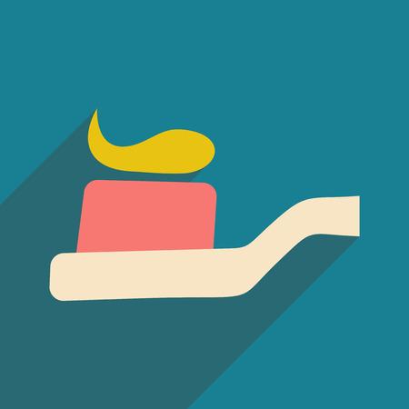Flach mit Schattensymbol und mobiler Applikations-Zahnbürstenkopf