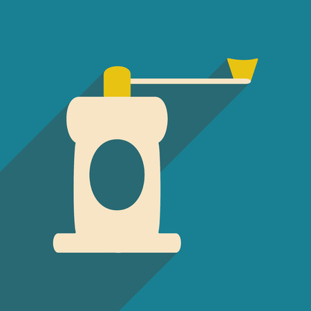 milling: Flat with shadow icon and mobile application coffee mill