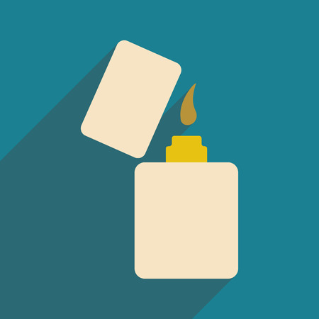 gas lighter: Flat with shadow icon and mobile application lighter