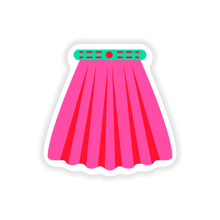mini skirt: stylish paper sticker on white background skirt Illustration