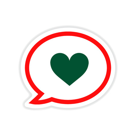 madness: paper sticker on white  background thinking cloud heart