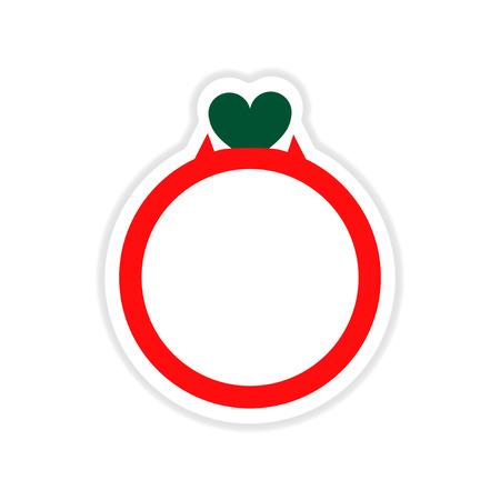 wedding ring: paper sticker on white  background wedding ring Illustration