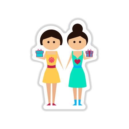 two girls: paper sticker on white  background Two girls gifts