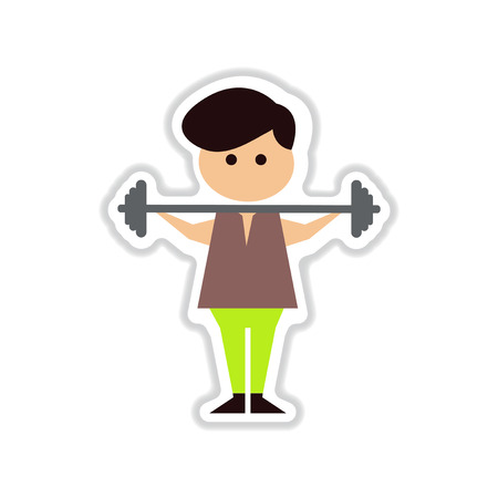 masculinity: paper sticker on white  background man with barbell