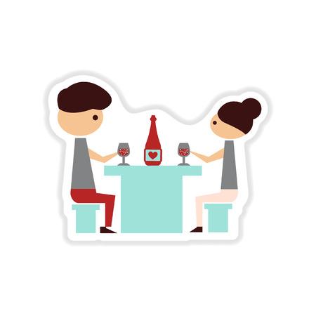etiqueta de papel en la cena romántica de fondo blanco pareja