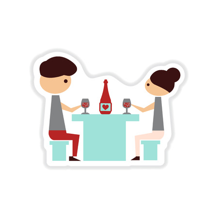 paper sticker on white  background couple romantic dinner Vectores