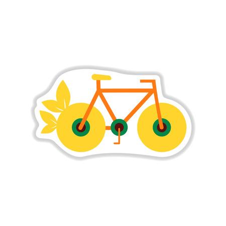 paper sticker on white  background eco bike