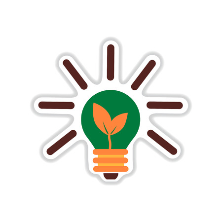 paper sticker on white  background eco light bulb Illustration