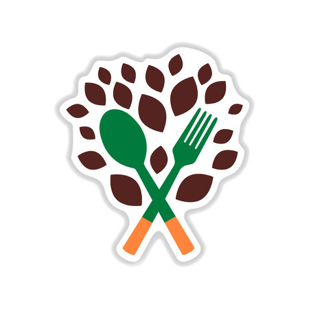 veggies: paper sticker on white  background eco cutlery Illustration