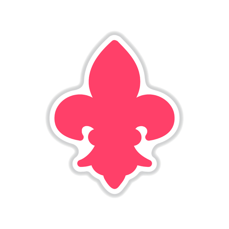 french culture: paper sticker on white  background French symbol Illustration