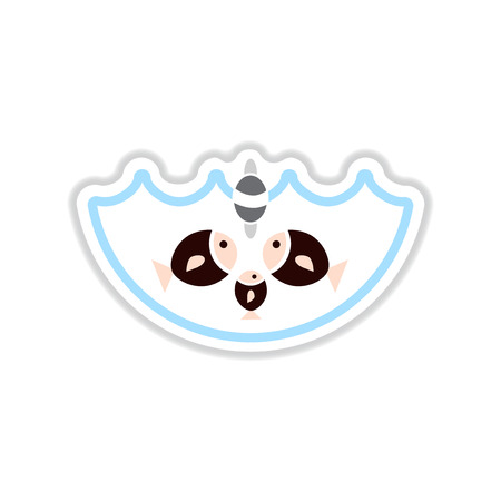 paper sticker on white  background fish water