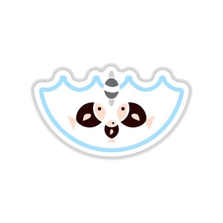 paper sticker on white  background fish water