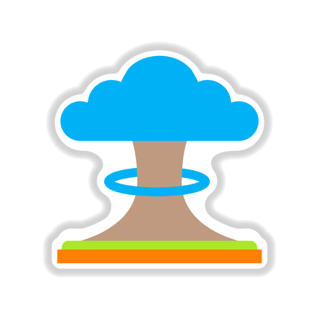 hydrogen bomb: paper sticker on white  background nuclear explosion