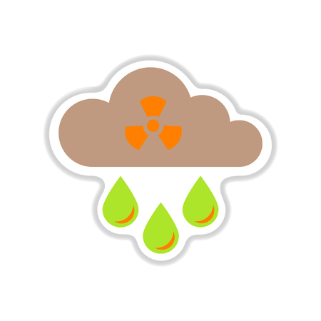 kwaśne deszcze: paper sticker on white  background toxic rain