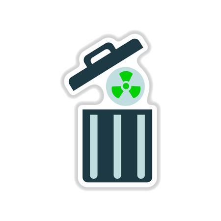 trash danger: paper sticker on white  background radioactive waste