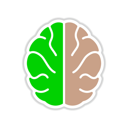 paper sticker on white  background human brain