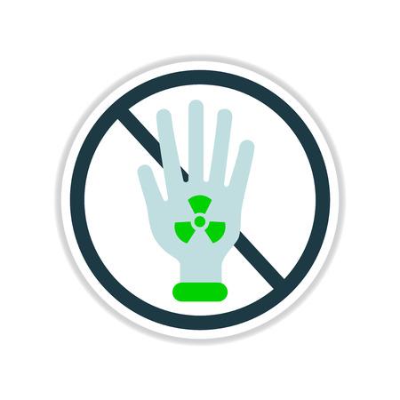 radioactivity: etiqueta de papel sobre fondo blanco radiactividad peligrosa