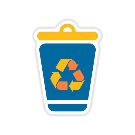 dumpster: paper sticker on the white  background dumpster