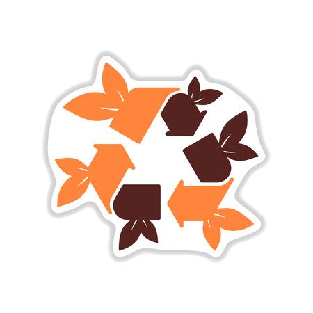 original ecological: paper sticker on white  background arrow leaves Illustration